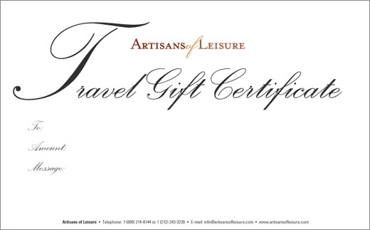 Artisans of Leisure Luxury Travel Gift Certificate