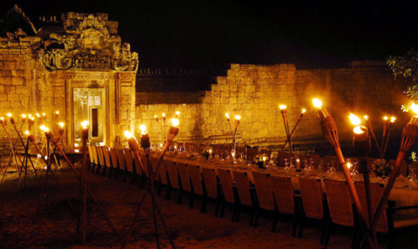Private dinner at a temple in Angkor